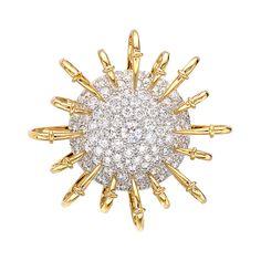 "Tiffany & Co. Schlumberger ""Apollo"" Pavé Diamond Bombe Brooch"