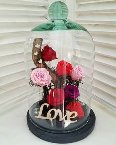 ⚘Forever Roses ⚘Love Them 💕 Forever Rose, Valentine Decorations, Valentine Gifts, Flower Art, Snow Globes, Thessaloniki, Roses, Glass, Flowers