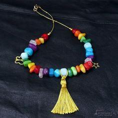 Bajecznie kolorowy naszyjnik boho - Naszyjniki, korale - Biżuteria artystyczna