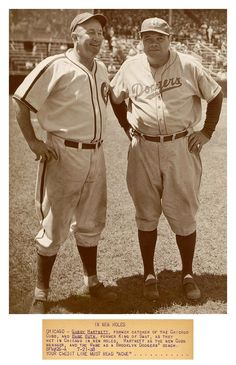 """Babe & Gabby In New Roles (76 Years Ago Today - Wrigley Field, Chicago - July 21, 1938) ~ """"ACME Wire: Chicago - Gabby Hartnett, former catcher of the Chicago Cubs, and Babe Ruth, former King Of Swat, as they met in Chicago in new roles, Hartnett as the new Cubs manager, and The Babe as a Brooklyn Dodgers' coach."""""""