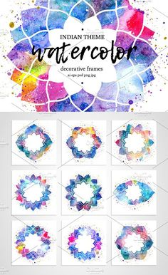 Watercolor frames. Indian theme.. Yoga Business Card Design