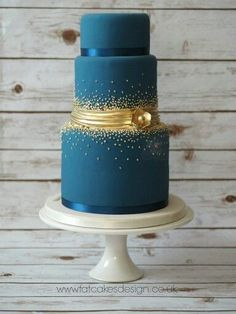 Cake Beautiful Wedding Cakes, Gorgeous Cakes, Pretty Cakes, Amazing Cakes, Fondant Cakes, Cupcake Cakes, Bolo Cake, Blue Cakes, Teal Cake