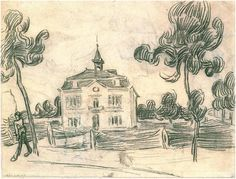 The Town Hall at Auvers  Vincent van Gogh Drawing, Black chalk Auvers-sur-Oise: June - July , 1890 #vangogh