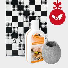 Das besondere Geschenk für alle stolzen Saunabesitzer: hochwertiges, modernes Saunatuch mit Aufgusskonzentrat und Speckstein-Aromaschale. #weihnachten #aufguss #sauna #geschenk