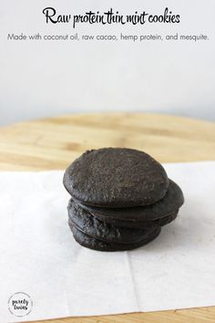 Protein thin mint cookies made with raw cacao, coconut oil, hemp protein, stevia and mequite. A cookie that burns fat.   purelytwins.com