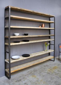 Bookshelves – Shelf Lumber / Iron Sinem – a unique product by FraaiBe … - DIY Furniture Ideas Rustic Bookshelf, Bookshelves, Bookcase, Industrial Furniture, Wood Furniture, Industrial Pipe, Furniture Ideas, Regal Design, Country Style Homes