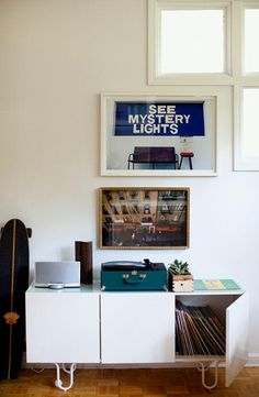 i love the perspective of the photograph right above the record cabinet.