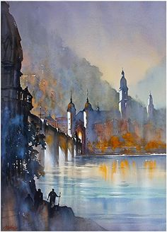Altes Bridge - Heidelberg by Thomas W. Schaller Watercolor ~ 30 inches x 22 inches
