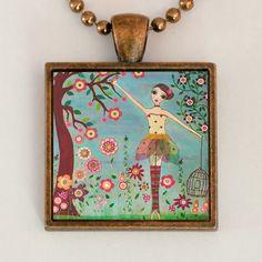 Fairy Ballerina Pendant Necklace Handmade Art Jewelry by Sascalia. $12.99, via Etsy.