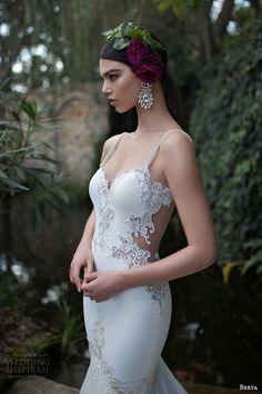berta 2015 bridal stunning sheath wedding dress beaded straps lace bodice close up