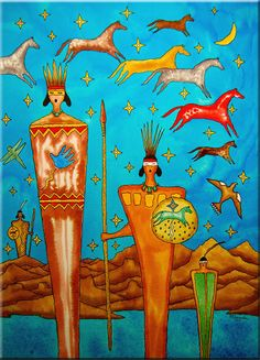 """The Ancestral Horse Calling Song"" Bernie Granados (Apache heritage). Native American Paintings, Native American Symbols, Native American Design, Native American Artists, American Indian Art, Indian Artwork, Indian Paintings, Southwestern Art, Painted Pony"