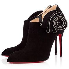 Christian Louboutin Mrs Baba Ankle Suede Ankle Boots 100mm Black