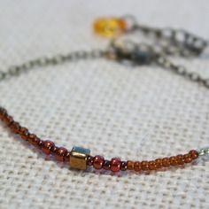 Bracelet réglable boheme chic discret gourmette perles miyuki