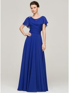 A-Line/Princess Scoop Neck Floor-Length Ruffle Beading Sequins Zipper Up Sleeves Short Sleeves No 2015 Royal Blue Spring Summer Fall General Plus Chiffon Mother of the Bride Dress Royal Dresses, Blue Dresses, Order Dresses Online, New Wedding Dresses, Bridesmaid Dresses, Marine Uniform, Ruffle Beading, Bride Groom Dress, Special Occasion Dresses