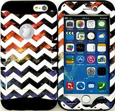 """myLife Stylish Design and Layered Protection Case for iPhone 6 Plus (5.5"""" Inch) by Apple {Space Black """"Colorful Chevron Nebula Finish"""" Three Piece SECURE-Fit Rubberized Gel} myLife Brand Products http://www.amazon.com/dp/B00PBGTD0Q/ref=cm_sw_r_pi_dp_Qh6yub024P25N"""