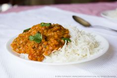 Red Lentil Mushroom Masala with Coconut Cream