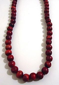 Reddish, Hand-Stained , Handmade Wooden Beaded Necklace: Handmade Necklace , Wooden Necklace , Beaded Necklace , Hand-Stained Necklace  Handmade Jewelry, Wooden Jewelry, Beaded Jewelry