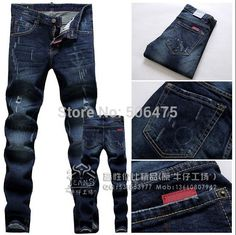 winter New Arrivals Straight Men's Jeans Fashion DSQ Brands jeans Leisure Skinny Frayed cozy men's D2 jeans Free shipping Price: US $42.88