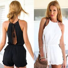 Women Clubwear Halter Backless Playsuit Bodycon Party Jumpsuit Romper Trousers | eBay