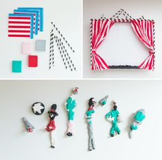 Very cute DIY circus play set for kids made with paper napkins and straws! The characters are just clay or Play-Doh.
