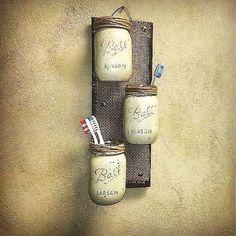 Mason Jar Decor , Pallet Wood , Rustic Cottage Storage , Three Wall Sconce , Rustic Decor , Jar Wall Vase , Bathroom Storage , Country Decor by TeddysRoom on Etsy