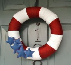 4th of July yarn wreath