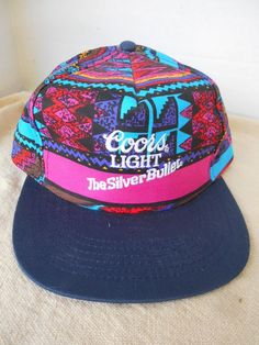 37e1a9e5692 90s Coors Beers Light The Silver Bullet Baseball Cap Hat Snapback Mosaic USA
