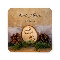 Rustic Pines Woodland Wedding Thank You Stickers
