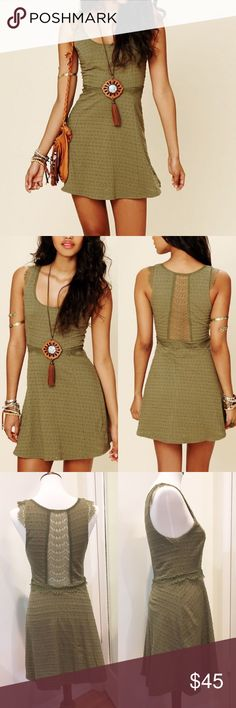 """Free People Solid Texture dress Fit and flare dress from Free People in olive green. Embroidery and lace detail. Lined. Length is about 32"""". Back lace panel. Armpit to armpit is about 18"""" flat. Cotton/spandex/rayon/nylon. No condition issues. Free People Dresses Mini"""