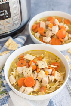 pressure cooker chicken soup recipe served in two white bowls in front of an Instant Pot Pressure Cooker Chicken Noodle Soup Recipe, Best Chicken Noodle Soup, Pressure Cooker Recipes, Chicken Cooker, Instapot Chicken Soup, Chicken Soup Recipes, Pressure Cooking Today, Cooking Recipes, Healthy Recipes