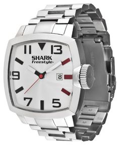 2f08ea24309 Freestyle 101173 Men s Shark Jester Square Silver Tone Dial Stainless Steel  Bracelet Watch Gents Watches