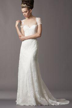 Short Sleeve Square Court Train Lace Sheath Column Wedding Dress