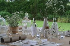 craft paper, doilies and glass bottles this christmas