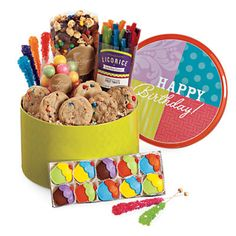 This Colorful Tin Of Treats Will Make A Fun And Tasty Centerpiece For Any Birthday Table Gift BasketsBirthday