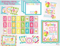 Items similar to Pink Blue Beach Ball Birthday Party Package YOU Print on Etsy Beach Ball Birthday, Ball Birthday Parties, Party Package, Blue Beach, Happy Birthday Banners, Kid Names, Favor Tags, Printing Services, Cupcake Toppers