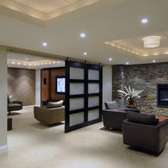 Gorgeous basement idea, only I'd never have such light wood (back) or patchy stone walls. Ever. General idea is great, though.