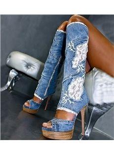 Sexy Denim Flower Print Knee High Boots