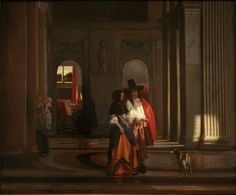 circa Pieter de Hooch,Going for a walk or A Couple Walking in the Citizens' Hall of Amsterdam Town Hall, oil on canvas, Musée des Beaux-Arts de Strasbourg. Dutch Artists, Great Artists, Strasbourg, Pieter De Hooch, Amsterdam, Dutch Golden Age, Dutch Painters, Art Database, Rembrandt