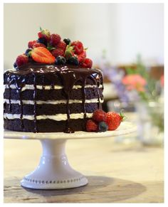 Chocolate and red berry layer cake hand made at Le Caillau. www.lecaillau.com