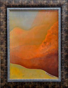 Art original,painting, landscape sunrise, Impressionist painting, mixed technique, external frame, wall art canvas painting, small size