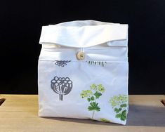 White lunch bag with botanical print Adult lunch bag for
