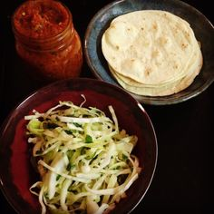 Salsa, tortillas, and cabbage | adam's cooking dinner