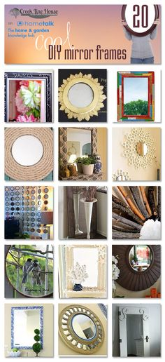 Ideas Idea Box by CreekLineHouse . 20 really awesome DIY mirror frame really awesome DIY mirror frame ideas Mirror Crafts, Diy Mirror, Rope Mirror, Mirror Ideas, Creative Crafts, Diy And Crafts, Diy Projects To Try, Craft Projects, Diy Casa