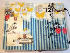 Collage 9-12-2011 by Donna Downey. Paper, tag, stamping, masking tape etc.