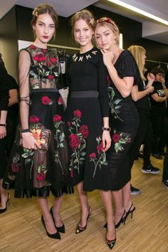 "runwayandbeauty: "" Julia Bergshoeff, Elisabeth Erm and Gigi Hadid - Backstage at Dolce & Gabbana Fall 2015 Runway Fashion, High Fashion, Fashion Show, Womens Fashion, Fashion Design, Milan Fashion, Fashion Models, Fashion Fashion, Look Chic"