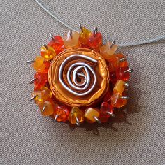 Orange Statement Necklace, Carnelian Pendant Jewerly, Jewellery, Upcycled Nespresso Capsules, Semiprecious Stones, Boho, OOAK, Recycled
