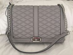 NWT Rebecca Minkoff JUMBO LOVE Crossbody Quilted Leather Bag PALE GRAY #RebeccaMinkoff #MessengerCrossBody