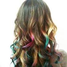 Wild color hair streaks using #hairchalktalk #hairchalk #crazycolor