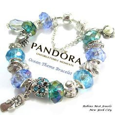 Authentic Pandora Bracelet, Sterling Silver, Or choose, Platinum Plated European Bracelet, Both with, Non Branded Beads & Charms,Ocean by RobinsNestJewels on Etsy