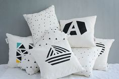 Perfect gift for house warming party. Black and white geometric boat, A unique handmade pillowcase, entirely hand-drawn and hand crafted – a unique product by twodotsshop via en.DaWanda.com